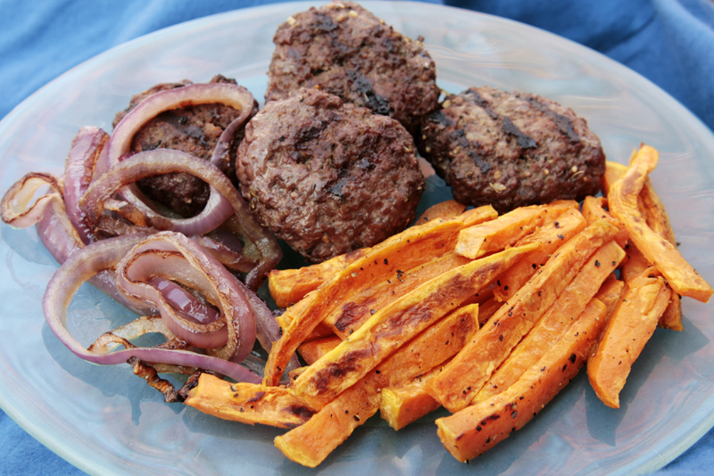 Bison burger and sweet potato fries